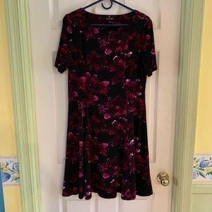 Black dress from dressbarn with purple/red florals